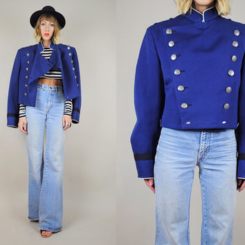 70's MILITARY Navy unisex BAND JACKET Marching Uniform Wool Majorette Double breasted button Blue Medium