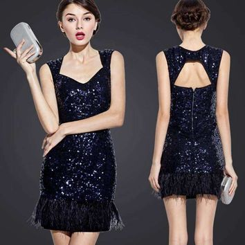 Unique who Women Sequin Mini Dress Exposed Back Navy Blue Sequined Feather Tank Dress Club Evening Party Dress
