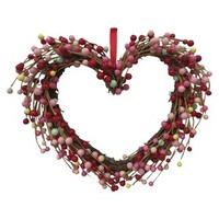 Valentine's Day Heart Shaped Berry Wreath - 16""