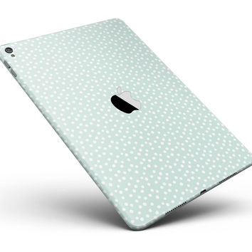 """The Mint and White Micro Polka Dots Full Body Skin for the iPad Pro (12.9"""" or 9.7"""" available)"""