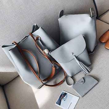 College Girl Leather 4pcs Shoulder-bag/Wallet/Satchel/ Clutch