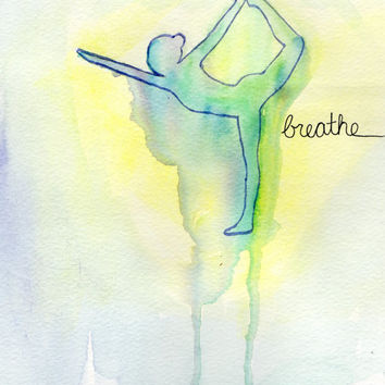 Breathing Dancer Watercolor Painting, Yoga Art, Dance  Silhouette Painting