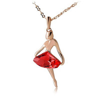 Rigant Dancing Girl 18K RGP Diamond Necklace (Red)