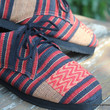 Maddie Womens Tribal Oxford In Red And Black Naga Textiles