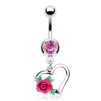 1-Gem/Heart w/ Flower WildKlass Navel Ring (Sold by Piece)