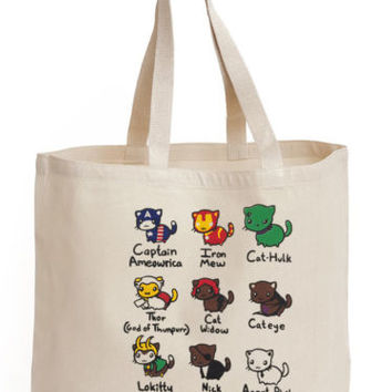 Avengers Cats Kitty Super Hero Characters Cotton Tote ECO canvas gift hand Bag | eBay