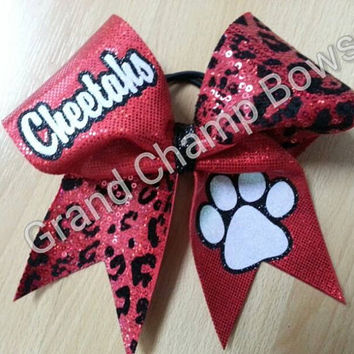 Cheetahs Sequin Paw Print Cheer Cheerleader Hair Bow BLING!