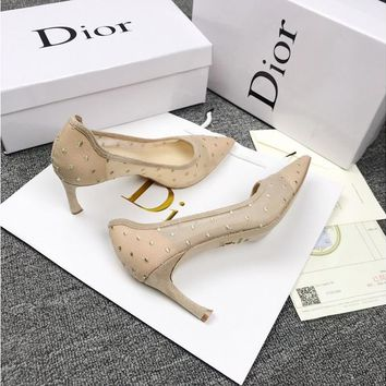 Dior D-moi Apricot Pump In Dotted Swiss Tulle - Best Online Sale
