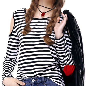 White and Black Cold Shoulder Striped Elbow Appliqued T-Shirt