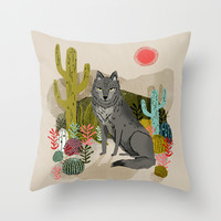Wolf by Andrea Lauren Throw Pillow by Andrea Lauren Design