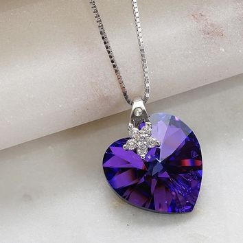 Love Heart Purple Swarovski Crystals Flower Necklace e013415c78
