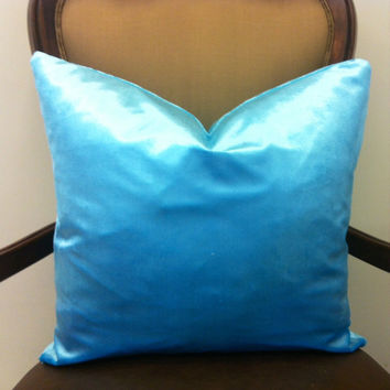 Turquoise Blue Velvet Pillow Cover 18X18, Blue Pillows, Decorative Velvet Pillow, Blue Cushion, Blue Couch Pillow, Blue Velvet Throw Pillows