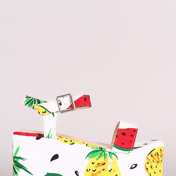Fruit Print Ankle Strap Flatform Wedge | UrbanOG
