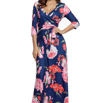 Navy Floral Print Wrapped Long Boho Dress LAVELIQ