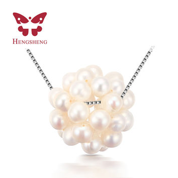 HENGSHENG Real Freshwater Baroque Pearl Ball Necklace Pendants for women princess different pearl Baroques
