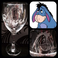 Personalised Disney Eeyore Wine Glass With Free Name Engraved In Disney Font. Totally Unique Gift For Any Disney Fan!