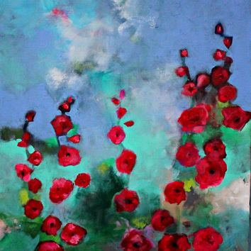 "Abstract Floral Original Painting, Acrylics on Canvas, Modern, Colorful, Red Flowers ""Hollyhocks"" 20x24"