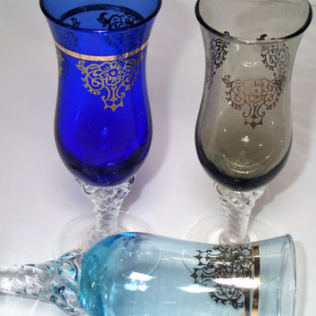 Bohemian Glass Stemmed Cordials applied stem gold on colored glass- set of 3