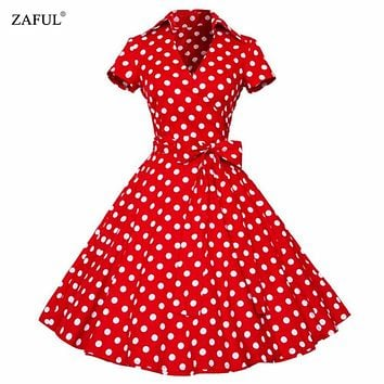 ZAFUL Plus Size S-4XL Women Retro Dress 50s 60s Vintage Rockabilly Swing feminino vestidos V neck short sleeves Dot print dress