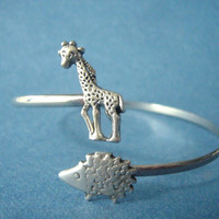 hedgehog wrap bracelet with a giraffe, hedgehog bangle