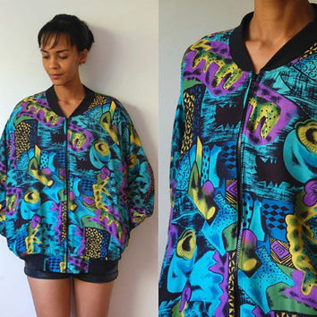 Vtg Abstract Mix Print Green Purple Yellow Zip Up Jacket