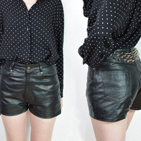 SUMMER SALE 50% off - 90s JTS Sporting Leather Recycled Studded Shorts/ Biker Ladies/ Punk Rock/ Metal Cone Studs