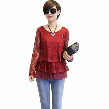 2018 New Spring and Autumn Style O-neck Lace Blouse Women Plus Size 3XL 4XL Casual Long Sleeve Ruffles Blouse Black Red  CM696