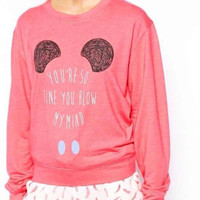 Pink Letter Print Sweater