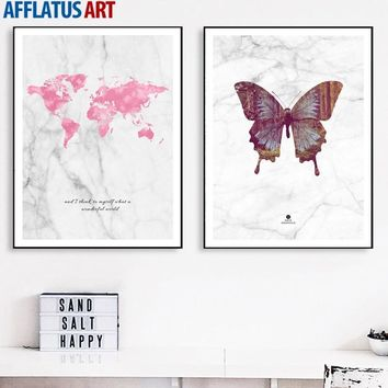 Marbling Watercolor World Map Butterfly Wall Art Canvas Painting Nordic Posters And Prints Wall Pictures For Living Room Decor