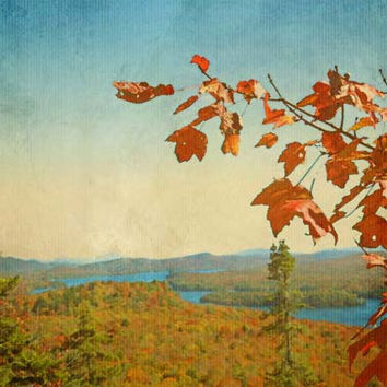 Adirondacks in Fall Colors View From Bald Mountain in Red Orange and Blue - Fine Art Photo