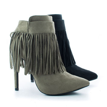 Valerie20 Fringe Pointy Toe Stiletto Ankle Bootie