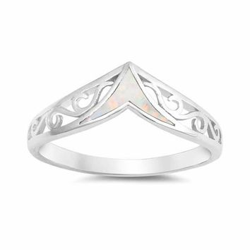 Sterling Silver Filigree V Ring with Created White Opal