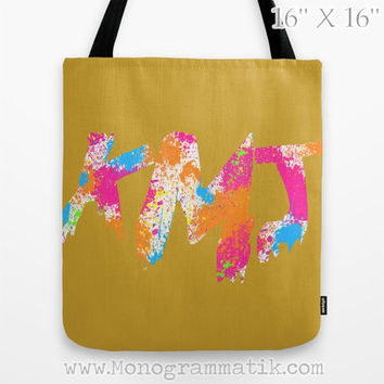 "Monogram/Personalized Iaia in Ochre"" Custom Tote Bag 13x13 Mustard White Ochre Hot Pink Neon Orange Blue Paint Splatter"