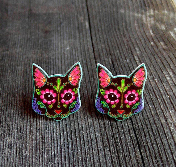 Day of the Dead Sugar Skull Black Kitty Cat Post Earrings