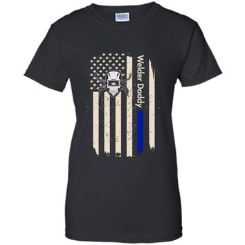 Mens Welder Daddy Us Flag Thin Blue Line T-shirt For Father's Day