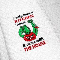 Kitchen Towel, Dish Towel, Funny Towel, Housewarming Gift, Wedding Gift, Embroider Dish Towel, Waffle Weave, Gift for Her, Mother's Day