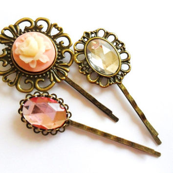 Pink Cameo Rose Rhinestone Vintage style Bobby Pin Set  bronze hair clips slides pink cream grips retro