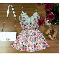 Feelingirl Women Dress Strap Sleeve V-neck Tropical Floral Print Summer Style Fashion Sexy Lace Dresses Hot Sell = 1696962308
