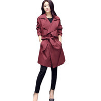Korean Fashion Long Trench Coat For Women Spring Autumn Casual Slim Trench Coats Outerwear Female Loose Was Thin Coat  C204