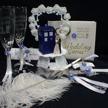 Wedding LOT Cake Topper w/ Dr. Who Doctor Tardis phone booth funny top Glasses, Knife , server, Guest book