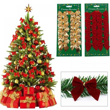 Pretty Bow Xmas Ornament Christmas Tree Decoration Festival Party Home Bowknots Baubles New Year Decoration 12PCS