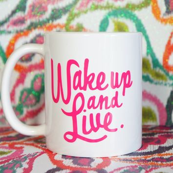 WAKE UP & LIVE Coffee Mug / Bob Marley Inspired Mug / Bob Marley Mug / Rastafarian Mugs / Rastafari / Quote / Lyrics / High Society / Rasta
