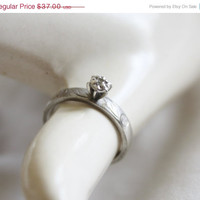 Summer Sale Sterling Diamond Ring  Cocktail Engagement Vintage 1960s Bridal Wedding Jewelry Sz 7
