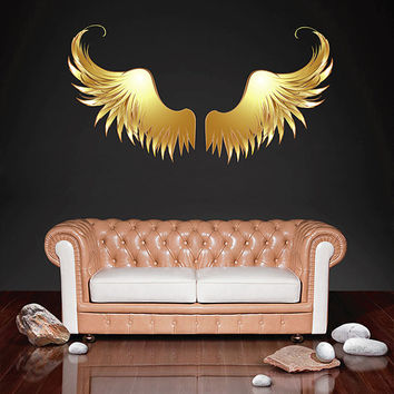 kcik511 Full Color Wall decal golden angel wings children's bedroom living room