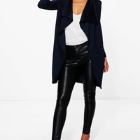 Petite Hannah Ponte Wrap Front Duster Jacket | Boohoo