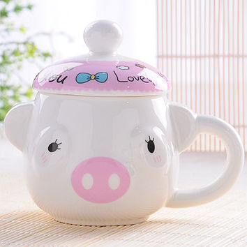 Pink funny pig mug for coffee, beer soda and water