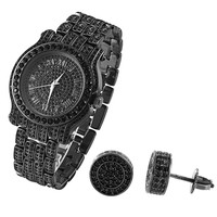 Hip Hop Fully Iced Out Custom Black Gold Finish Men's Techno Pave Watch & Earrings Combo