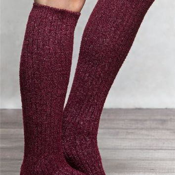 Feathered Metallic Boot Socks