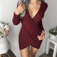 Fashion Womens Kintted V Neck Long Sleeve Dress +Gift Necklace