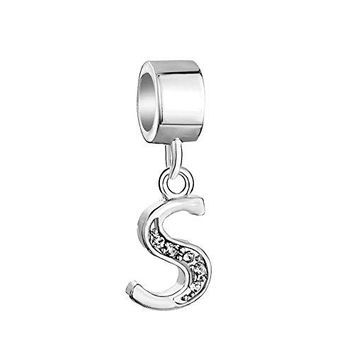 QueenCharms 925 Sterling Silver Letter Charms Dangle with Crystals Bead for Bracelet Letter S